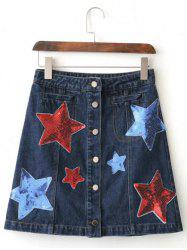 Sequins Star Button-Front Denim Skirt -