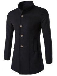 Slim-Fit Stand Collar Wool Blend Coat - BLACK