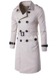 Epaulet Design Double Breasted Long Trench Coat - OFF WHITE 3XL
