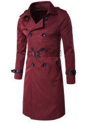 Epaulet Design Double Breasted Long Trench Coat - WINE RED