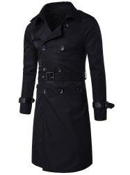 Epaulet Design Double Breasted Long Trench Coat - BLACK