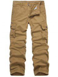 Zip Fly Multi-Pocket Straight Cargo Pants