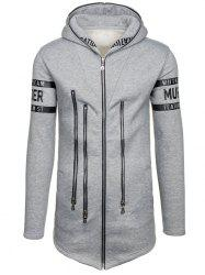 Zipper Embellished Letter Print Zip Up Hoodie