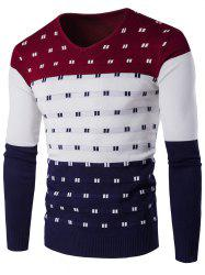 V-Neck Geometric Pattern Color Block Sweater - WINE RED 2XL