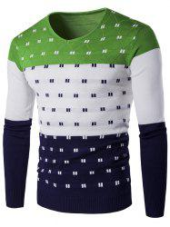 Col en V Motif géométrique Color Block Sweater - Vert