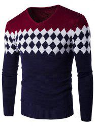 V-Neck Rhombus Pattern Color Block Sweater - WINE RED