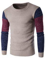 Crew Neck Color Block Space Dyed Sweater -