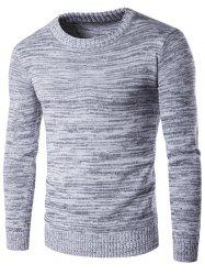 Crew Neck Space Dyed Sweater - GRAY L