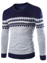 Crew Neck Color Block Geometric Knitwear - CADETBLUE