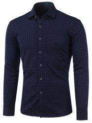Polka Dot and Flower Print Turn-Down Collar Fleece Shirt -