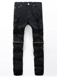 Zip Embellished Broken Hole Jeans