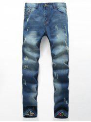 Zipper Fly Distressed Printed Lining Jeans -