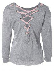 Loose Lace-Up Cut Out Sweatshirt