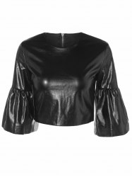 Butterfly Sleeve PU Leather Crop Top