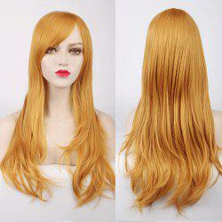 Multicolor Long Side Bang Layered Tail Adduction Cosplay Lolita Synthetic Wig - YELLOW