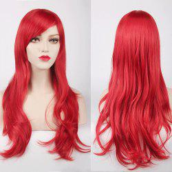 Multicolor Long Side Bang Layered Tail Adduction Cosplay Lolita Synthetic Wig - RED