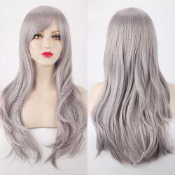 Multicolor Long Side Bang Layered Tail Adduction Cosplay Lolita Synthetic Wig - SILVER GRAY