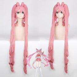 Chibiusa Sailor Moon Cosplay Long Side Bang with Bunches Synthetic Wig - PINK