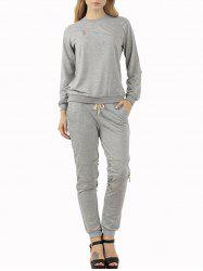 Zip Sweatshirt and Jogger Pants Sweat Suit - GRAY