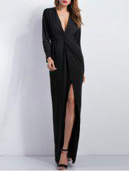 Knotted Long Sleeve Plunge Slit Maxi Prom Dress