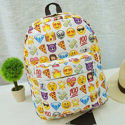 Emoji Imprimer Nylon Backpack - Blanc
