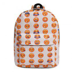 Canvas Emoji Printed Backpack - WHITE