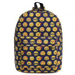 Canvas Emoji Printed Backpack - DEEP BLUE