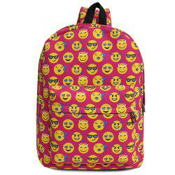 Canvas Emoji Printed Backpack - ROSE RED