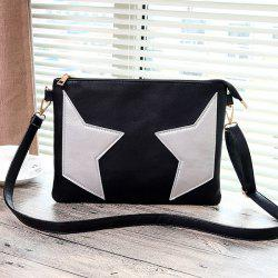 PU Leather Star Color Block Crossbody Bag - BLACK