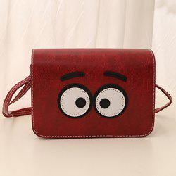 Stitching Cartoon Eyes Crossbody Bag - WINE RED