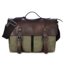 Double Buckle Canvas Snap Closure Messenger Bag - ARMY GREEN