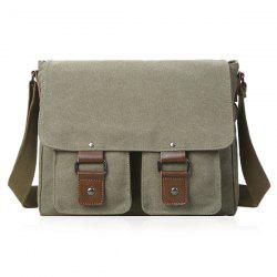 Magnetic Closure Double Pocket Canvas Messenger Bag -