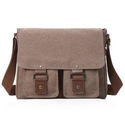 Magnetic Closure Double Pocket Canvas Messenger Bag - BROWN