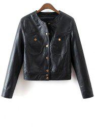 PU Leather Buttons Short Jacket