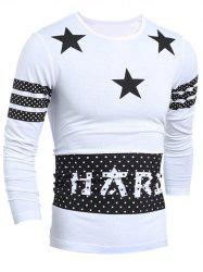 Polka Dot and Stars Print Long Sleeve Varsity Stripe T-Shirt - WHITE
