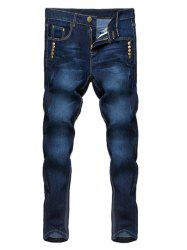 Zipper Fly Narrow Feet Stud Embellished Jeans