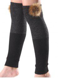 Warm Faux Mink Hair Knit Leg Warmers - BLACK