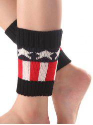 Warm Star Stripe Pattern Knit Boot Cuffs