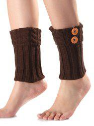 Warm Buttons Flanging Knit Boot Cuffs