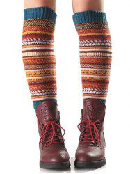 Warm Ethnic Multicolor Stripe Knit Leg Warmers - TURQUOISE