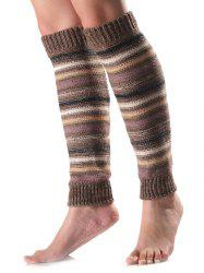 Warm Horizontal Stripe Knit Leg Warmers -