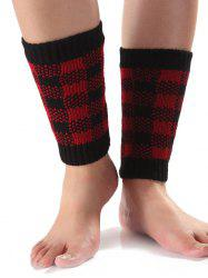 Chaud Checkered Knit Boot Cuffs - Rouge
