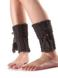 Warm Tassel Pendant Flanging Knit Boot Cuffs -