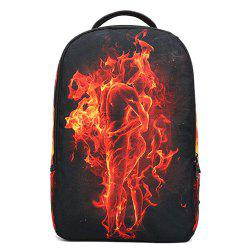Color Splicing Flame Print Canvas Backpack -