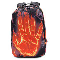 Zipper Hand Print Color Splicing Backpack