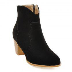 Suede Zip Chunky Heel Ankle Boots