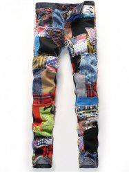 Multiple Applique Panel Button Fly Jeans -