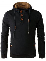 Elbow Patch Long Sleeve Drawstring Pullover Hoodie - BLACK