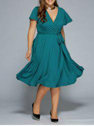 Low Cut A Line Plus Size Surplice Front Tie Swing Dress