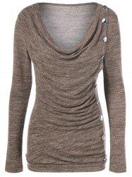 Side Button Cowl Neck Knitted Sweater